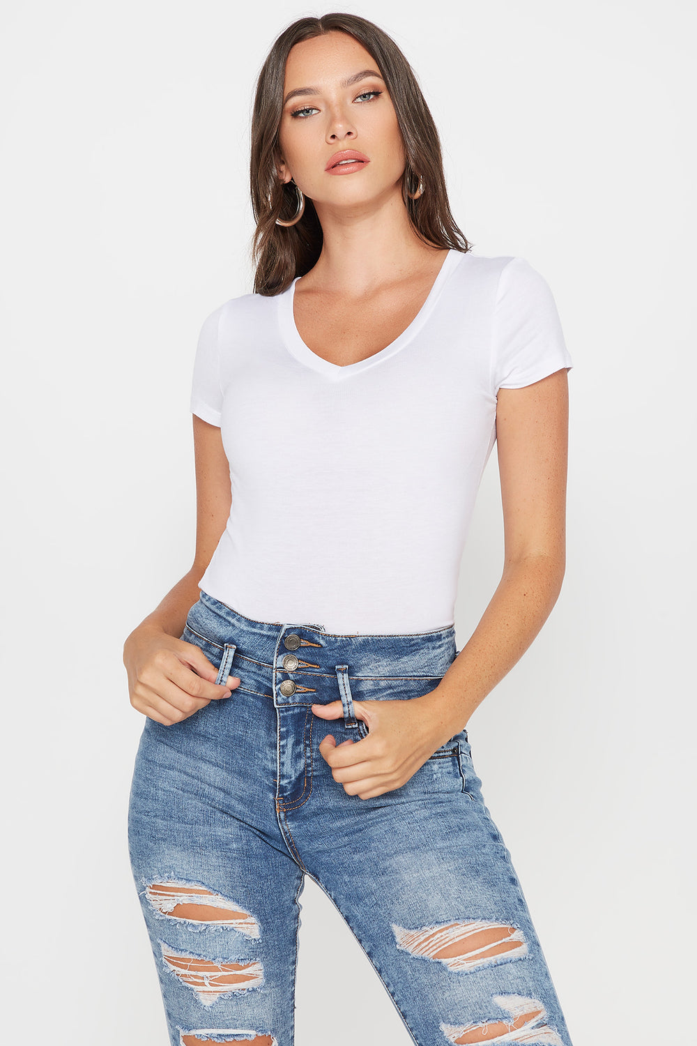 Basic V-Neck T-Shirt White
