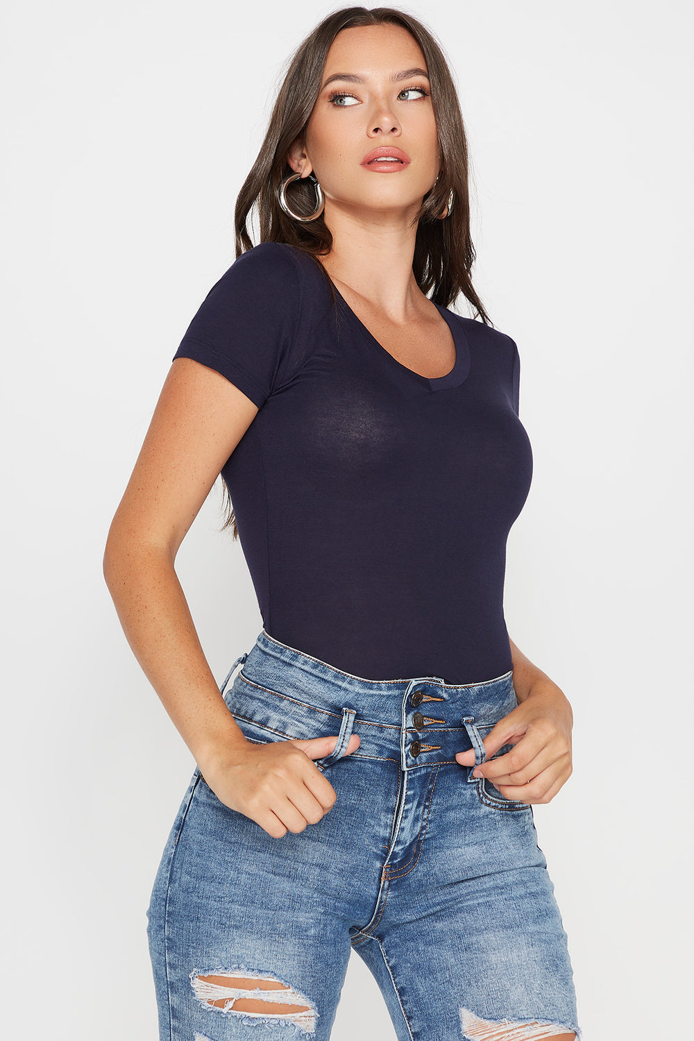 Basic V-Neck T-Shirt Navy