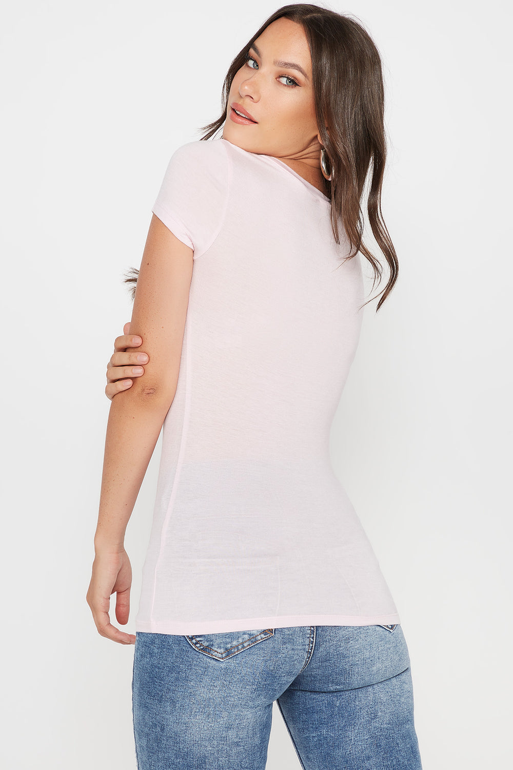 Basic V-Neck T-Shirt Rose