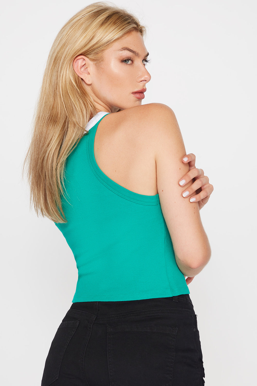 Ribbed High-Neck Cropped Top Dark Green