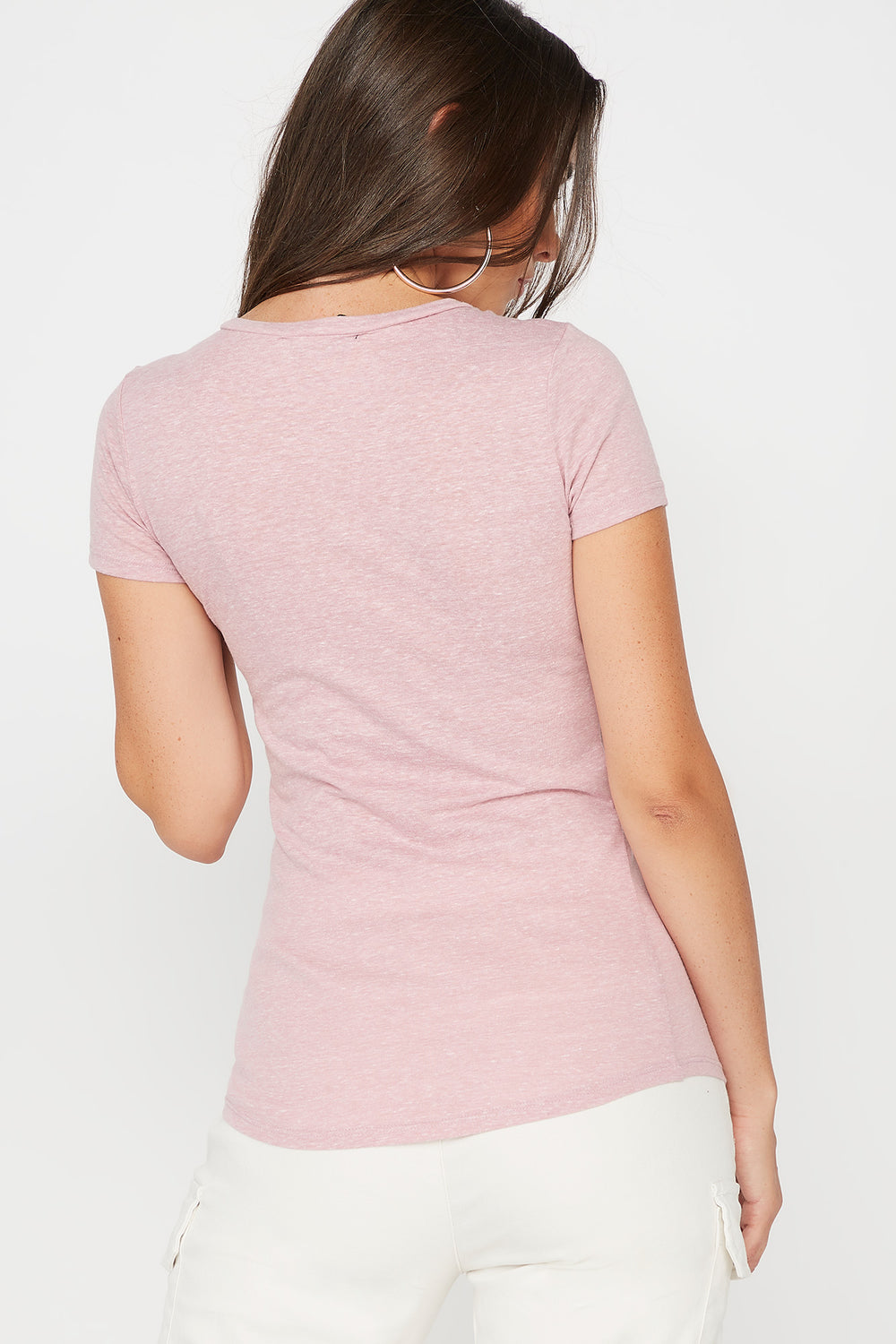 Space Dye V-Neck T-Shirt Mauve