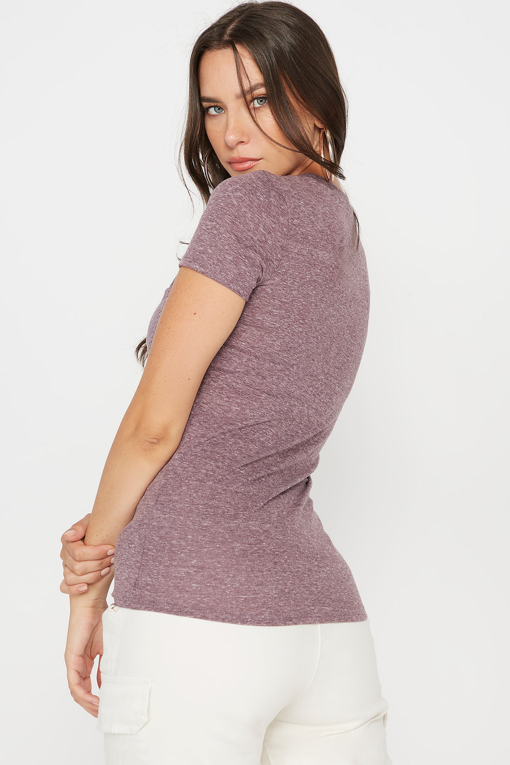 Space Dye V-Neck T-Shirt Plum