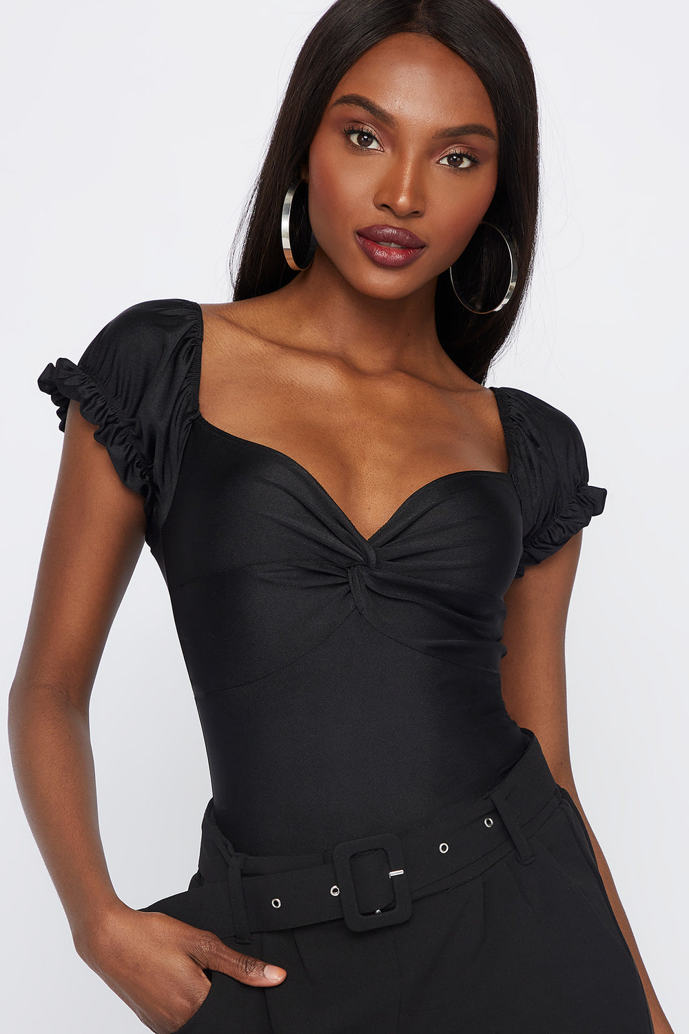 Puff Sleeve Front Knot Top Black