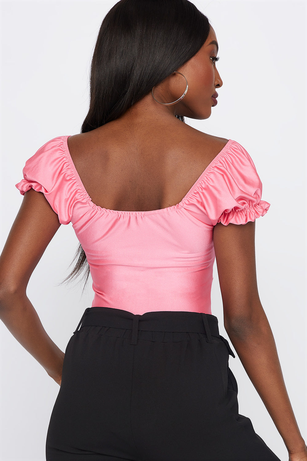 Puff Sleeve Front Knot Top Pink