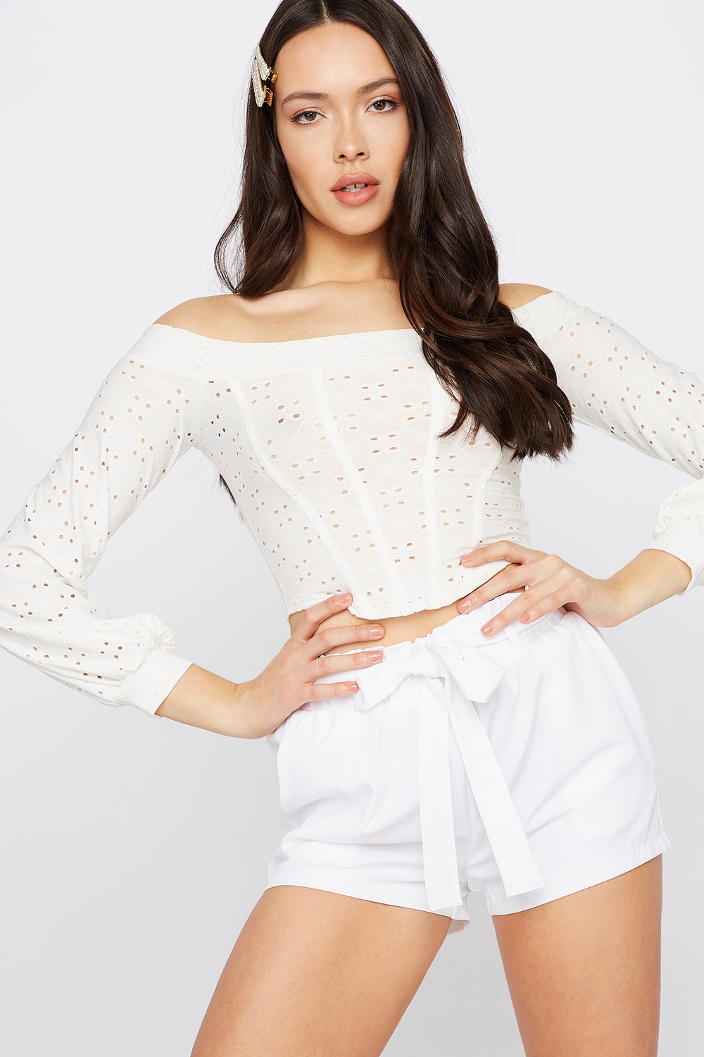 Off the Shoulder Eyelet Corset Long Sleeve Top White