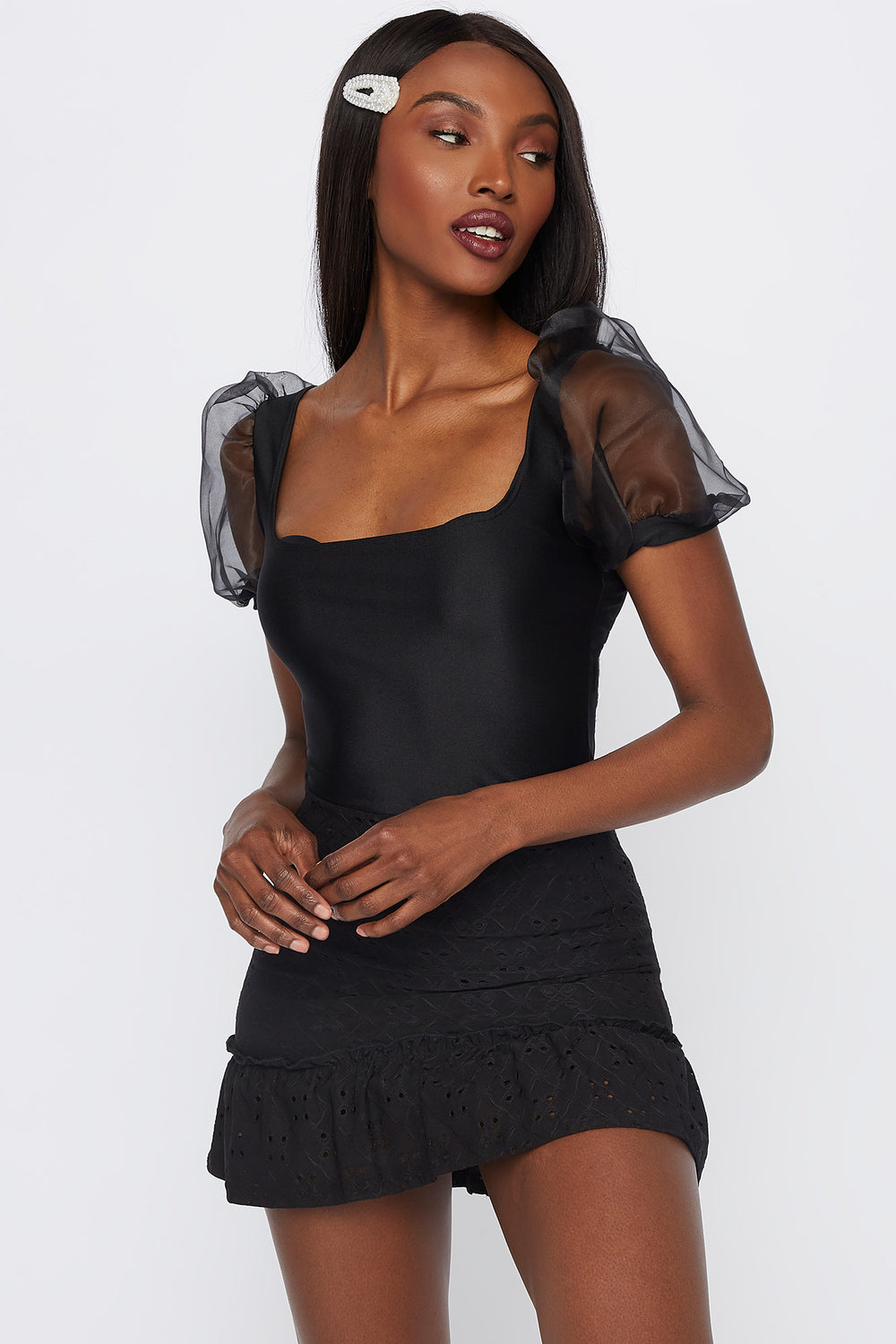 Mesh Puff Sleeve Square Neck Top Black