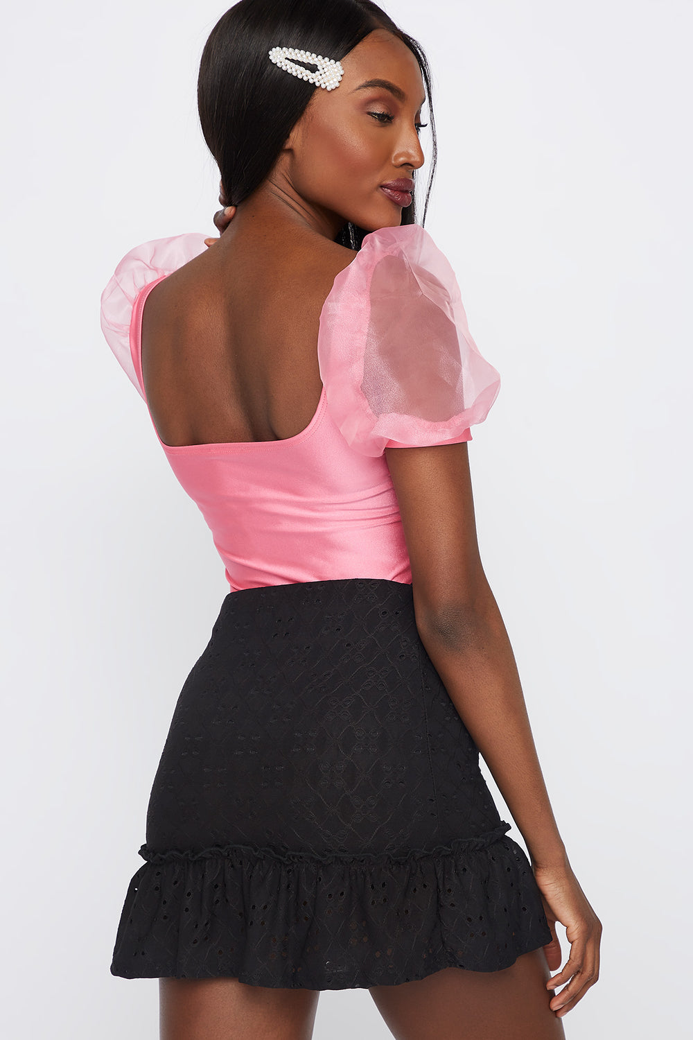 Mesh Puff Sleeve Square Neck Top Pink