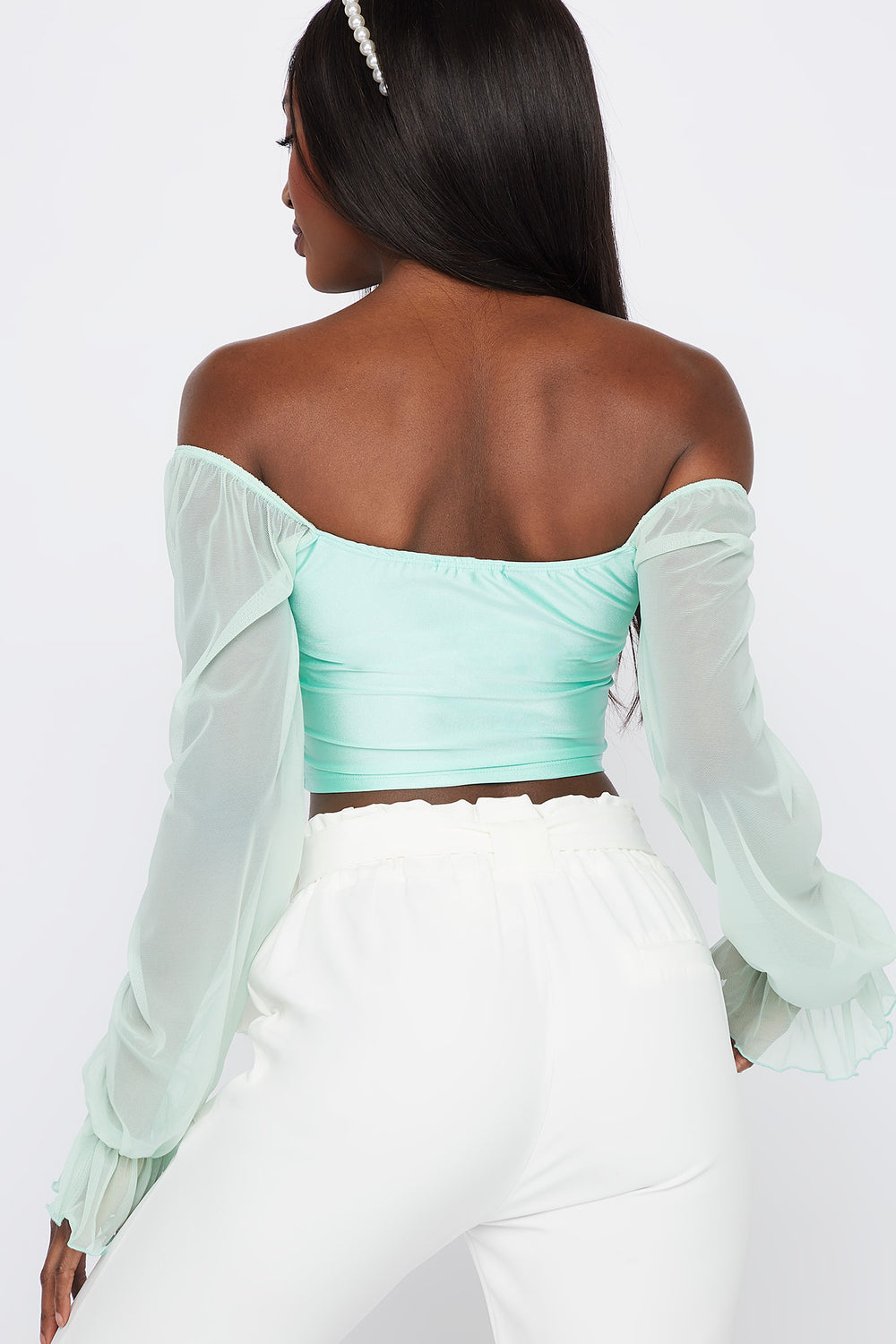 Off The Shoulder Mesh Sleeve Top Sage