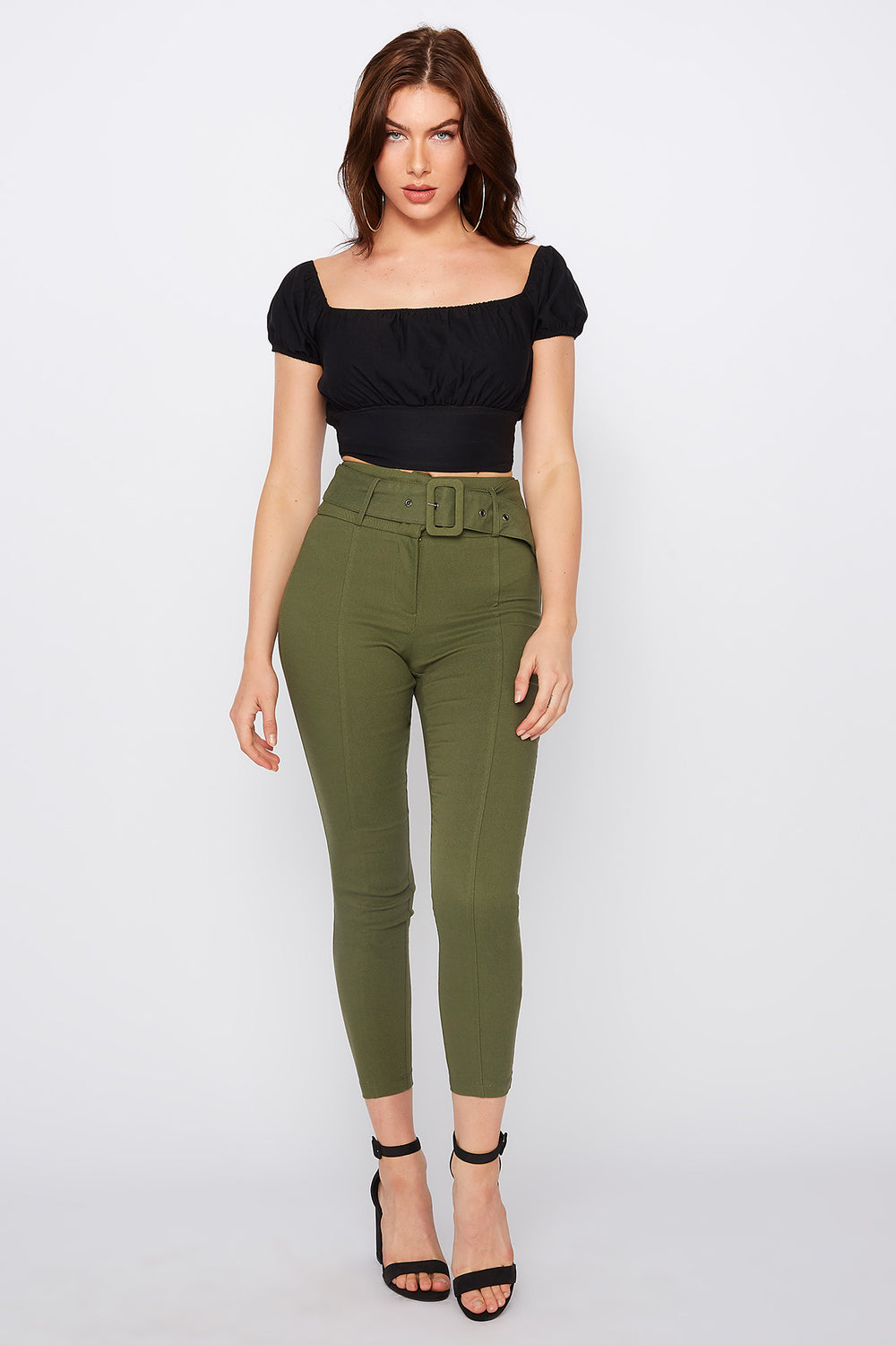High-Rise Self Belted  Skinny Pant Green