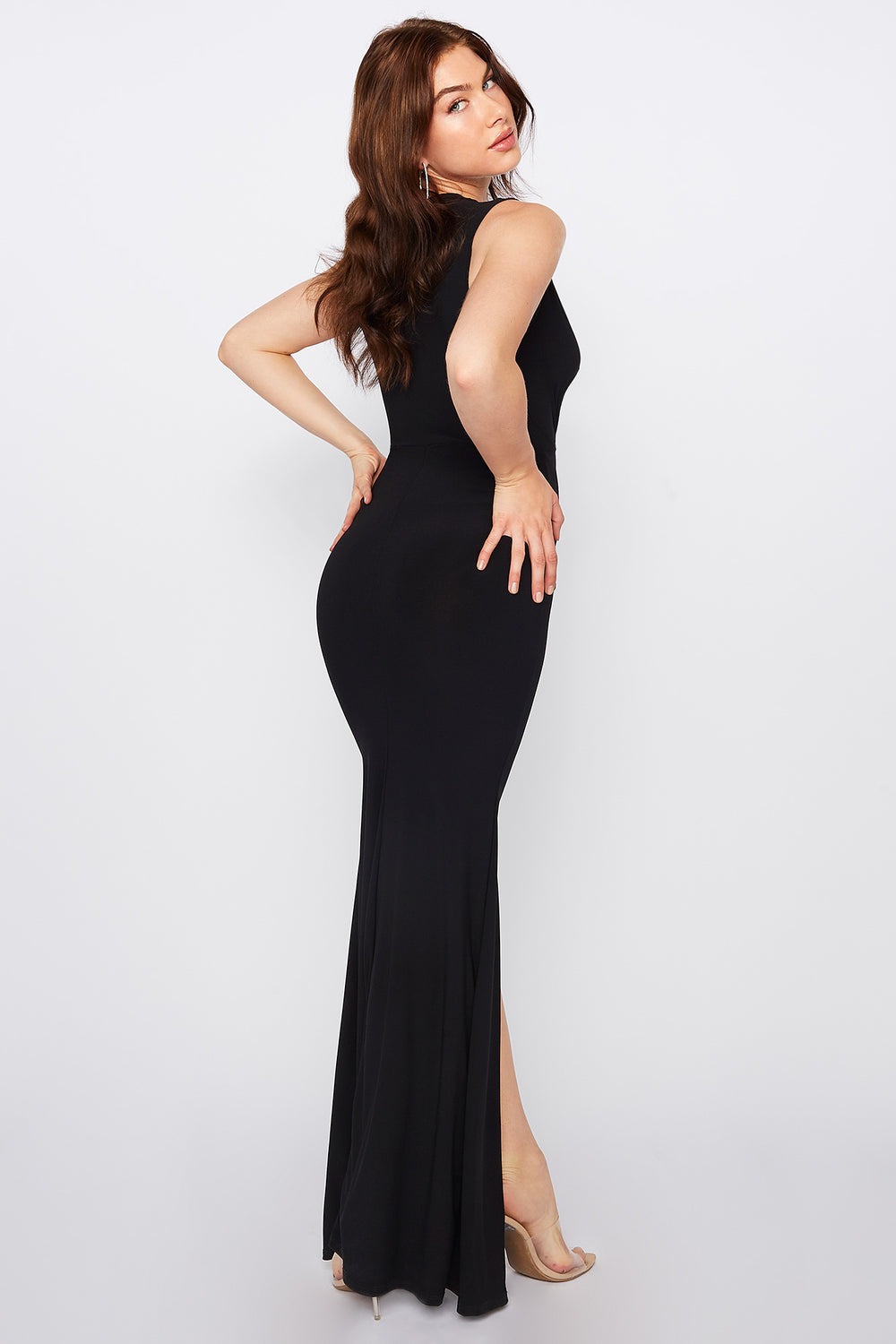 Plunging V-Neck Ruched Slit Maxi Dress Black