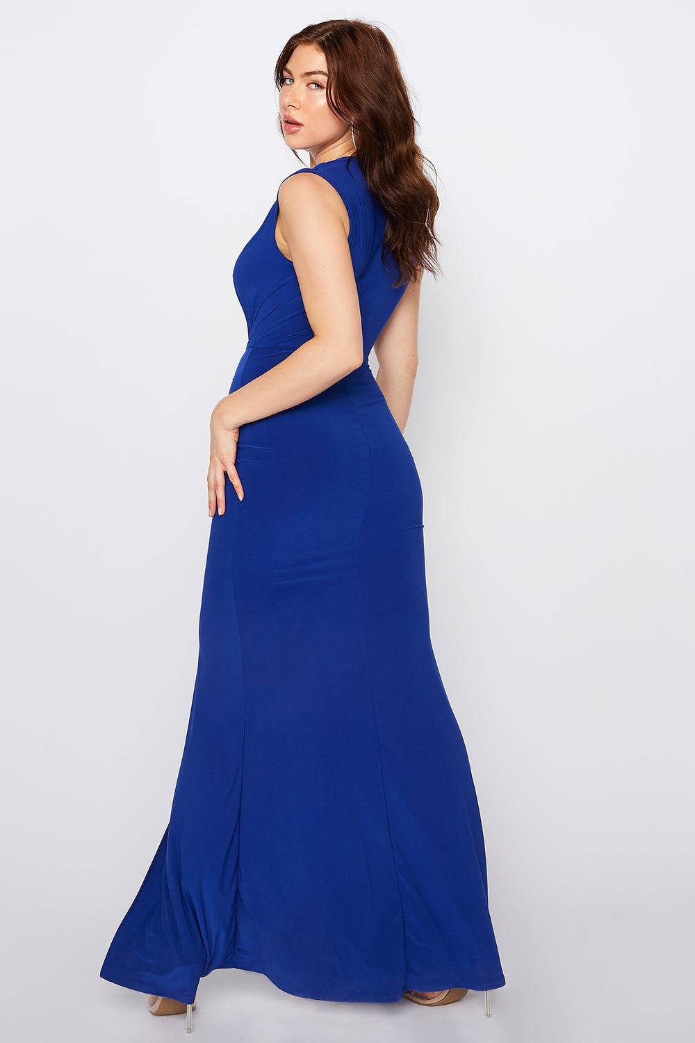Plunging V-Neck Ruched Slit Maxi Dress Royal Blue