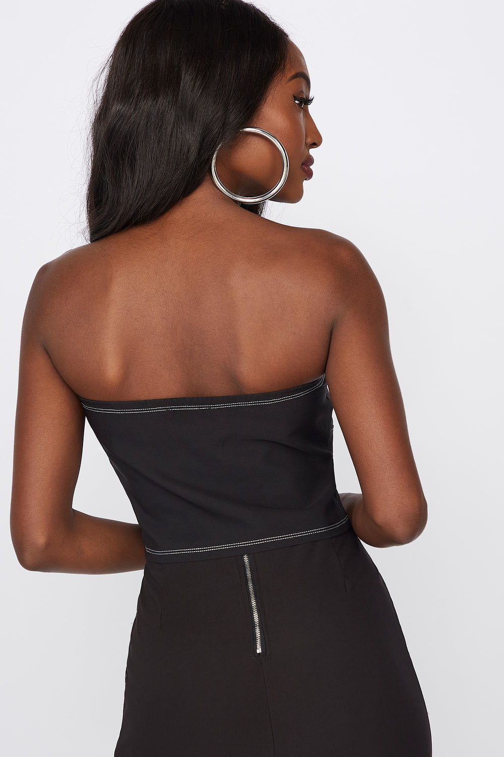 Strapless Contrast Stitch Cropped Bustier Black