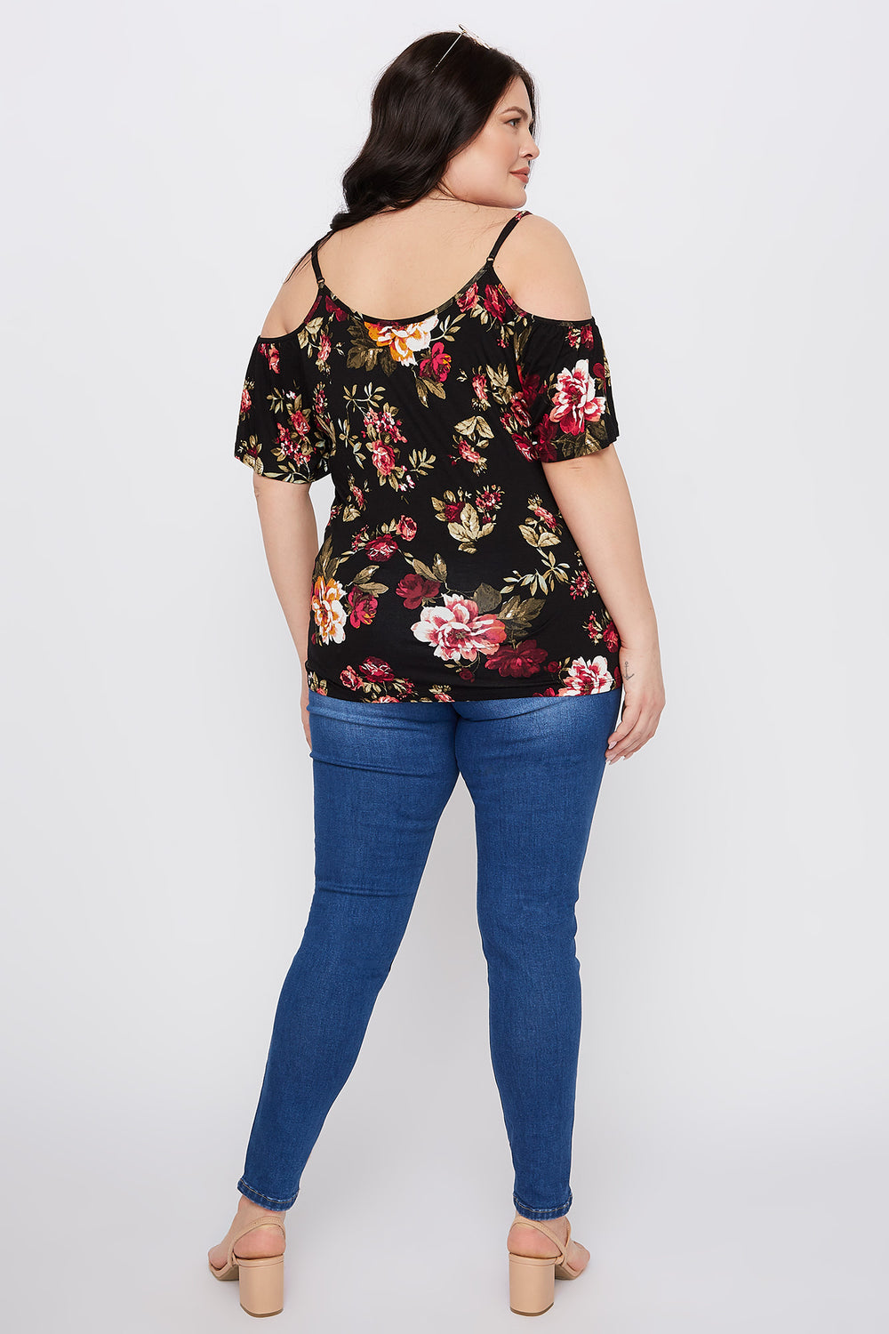 Plus Size Floral V-Neck Cold Shoulder Top Black