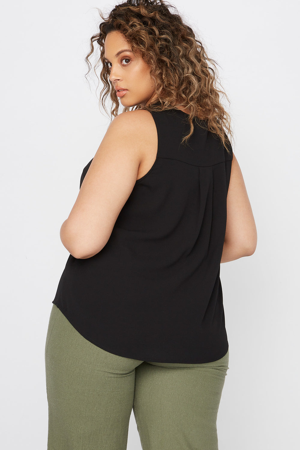 Plus Size V-Neck Button Front High-Low Tank Black