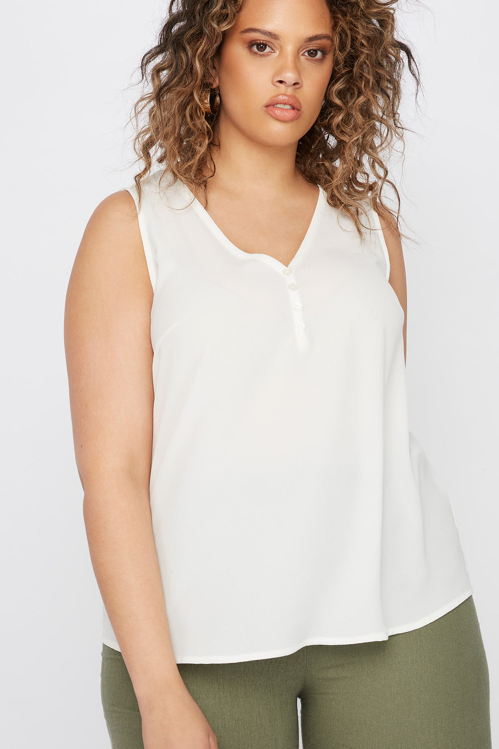 Plus Size V-Neck Button Front High-Low Tank Off White