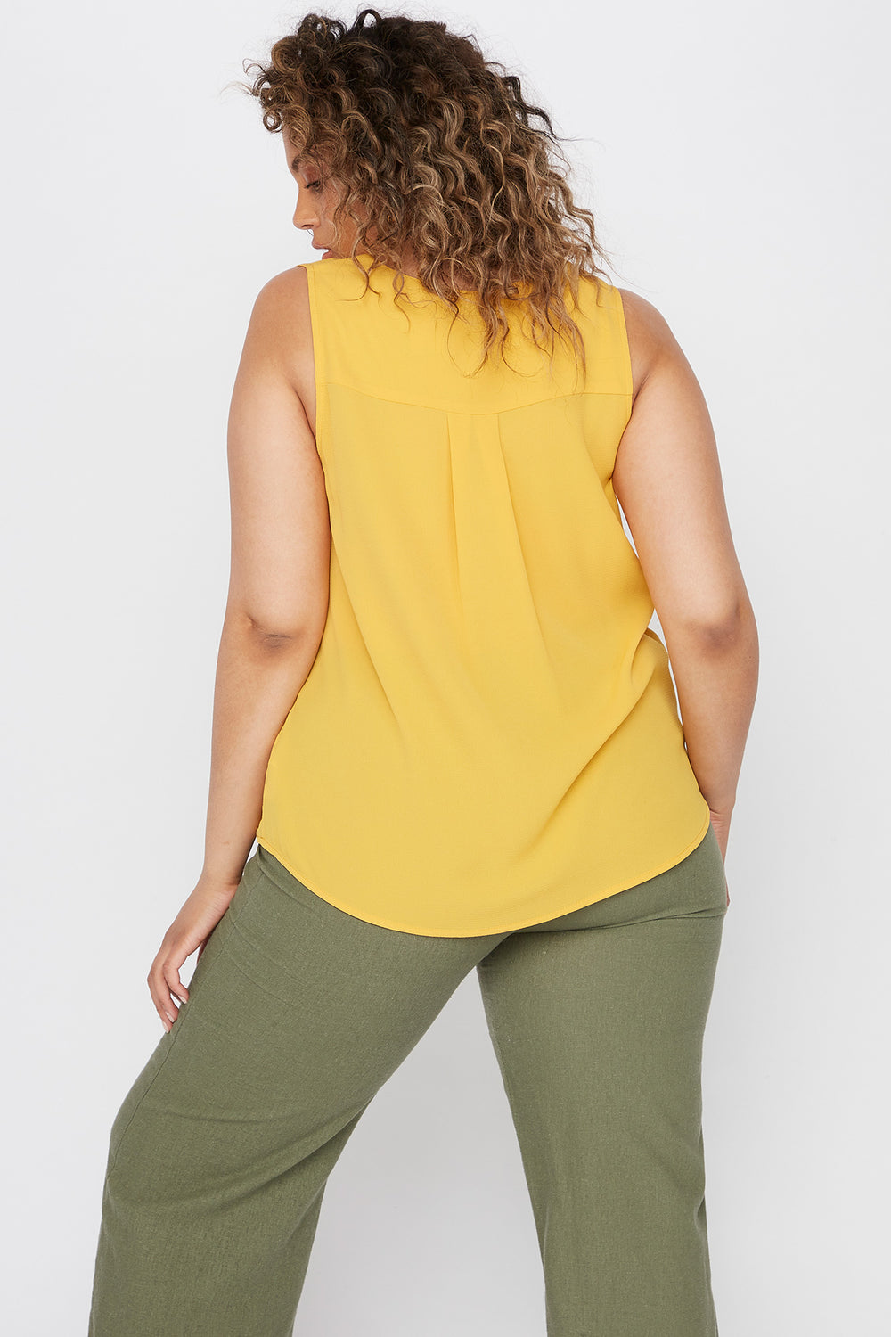 Plus Size V-Neck Button Front High-Low Tank Mustard