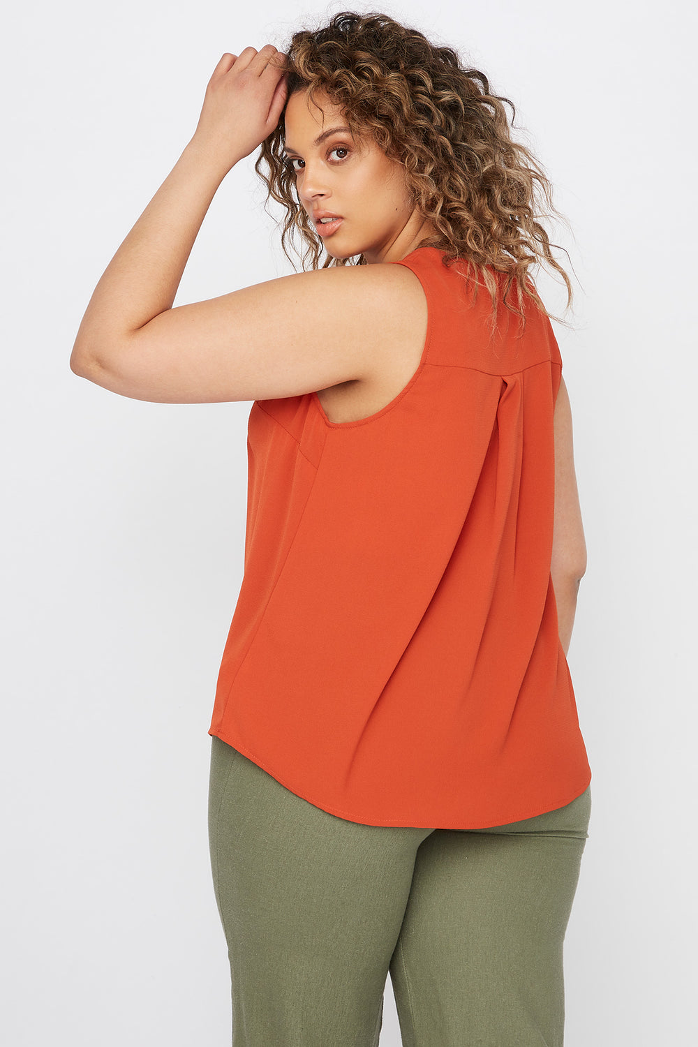 Plus Size V-Neck Button Front High-Low Tank Rust