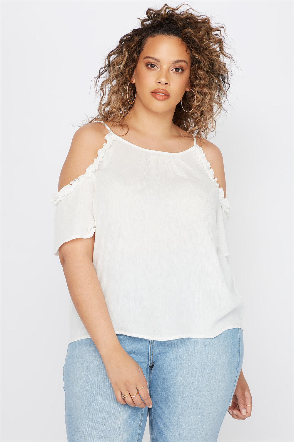 Plus Size Ruffle Hem Cold Shoulder Blouse Off White