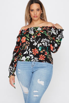 Plus Size Floral Printed Smocked Off The Shoulder Blouse