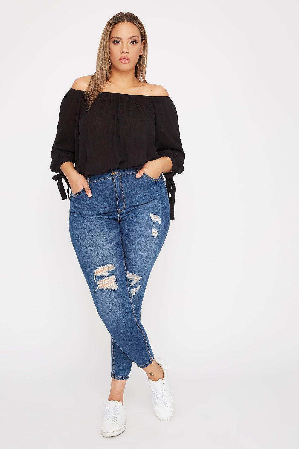 Plus Size Off the Shoulder Tie Sleeve Blouse Black
