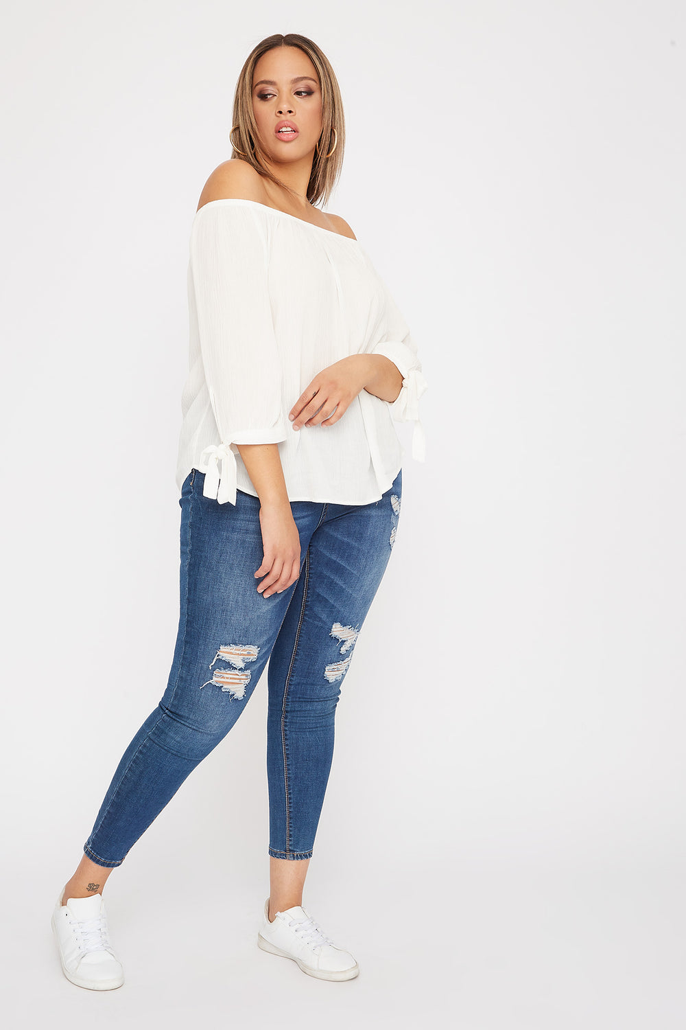Plus Size Off the Shoulder Tie Sleeve Blouse Off White