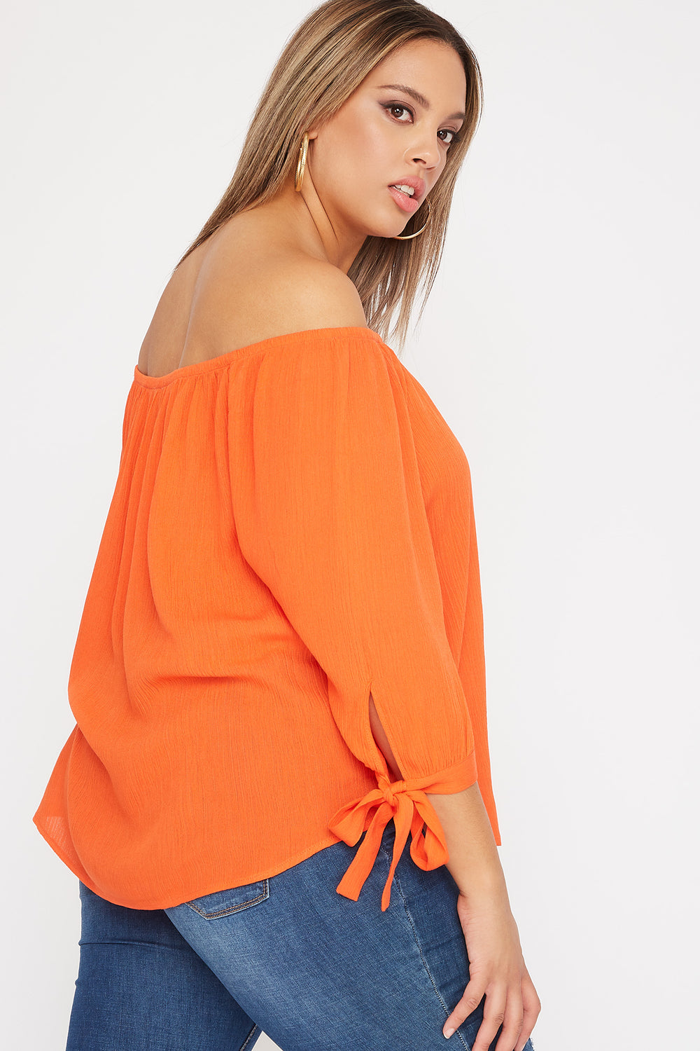Plus Size Off the Shoulder Tie Sleeve Blouse Red