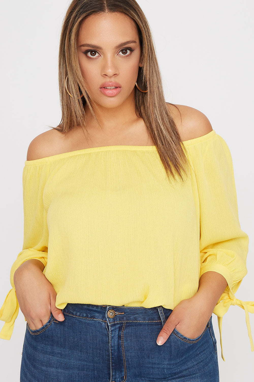 Plus Size Off the Shoulder Tie Sleeve Blouse Yellow