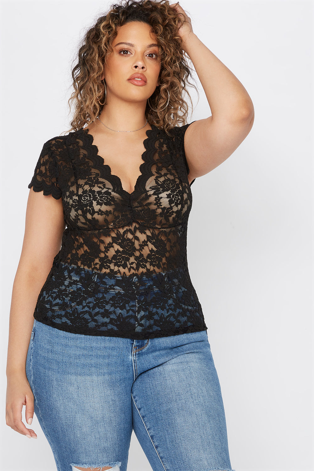 Plus Size Lace V-Neck Scallop Blouse Black