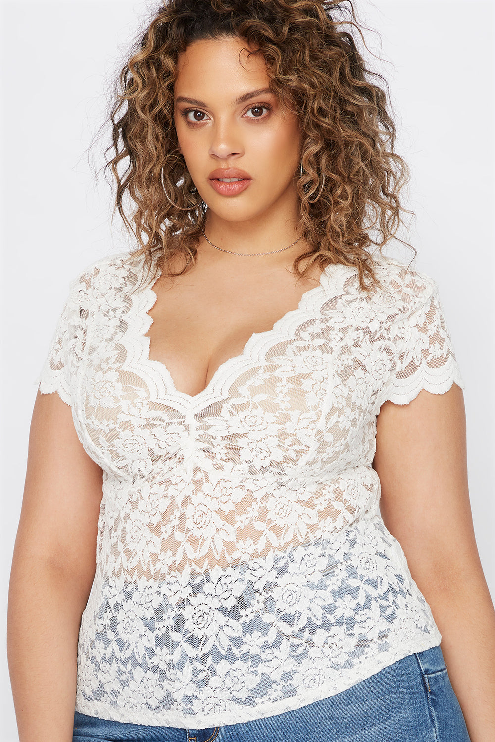 Plus Size Lace V-Neck Scallop Blouse Off White