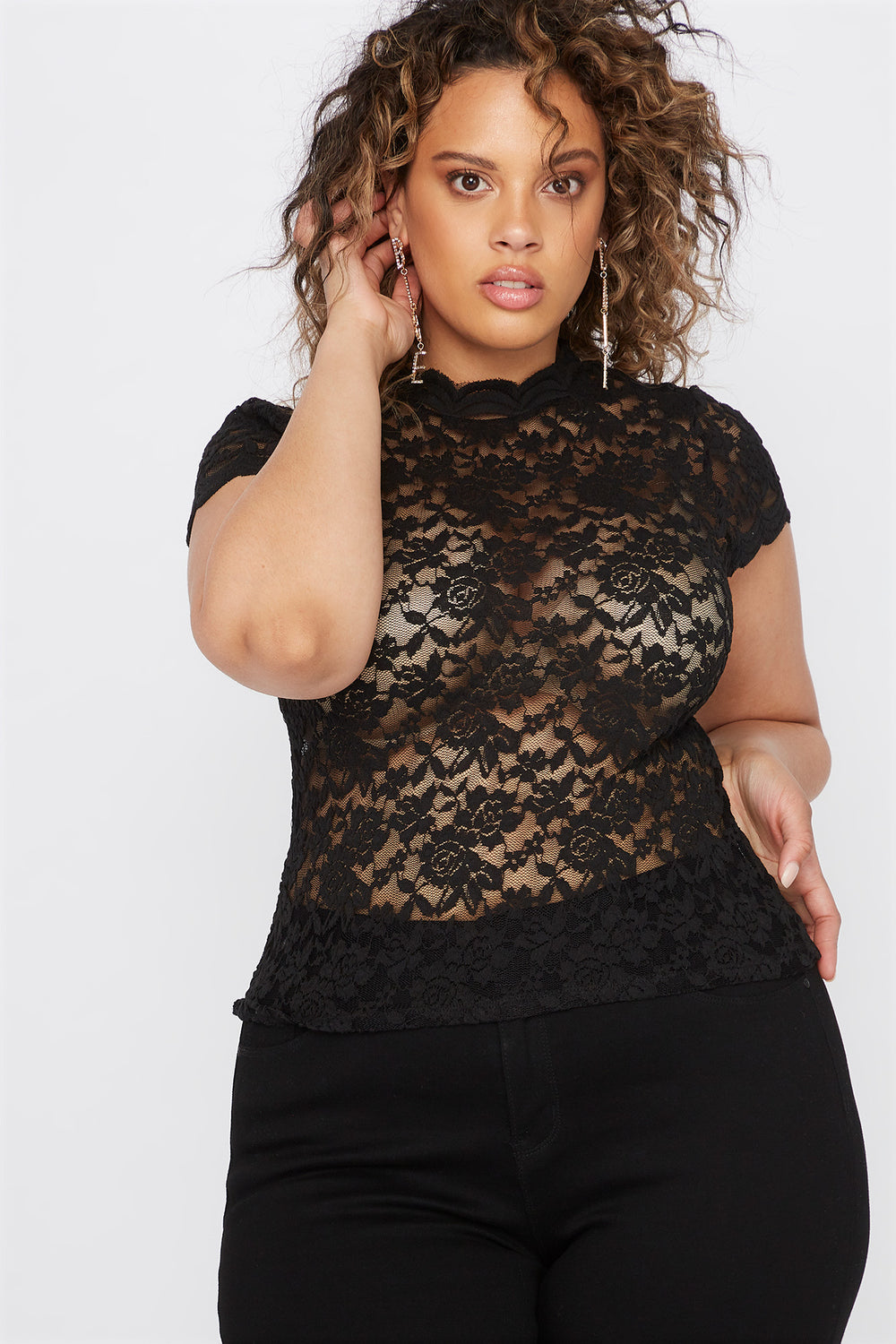 Plus Size Lace Scallop Mock Neck Blouse Black