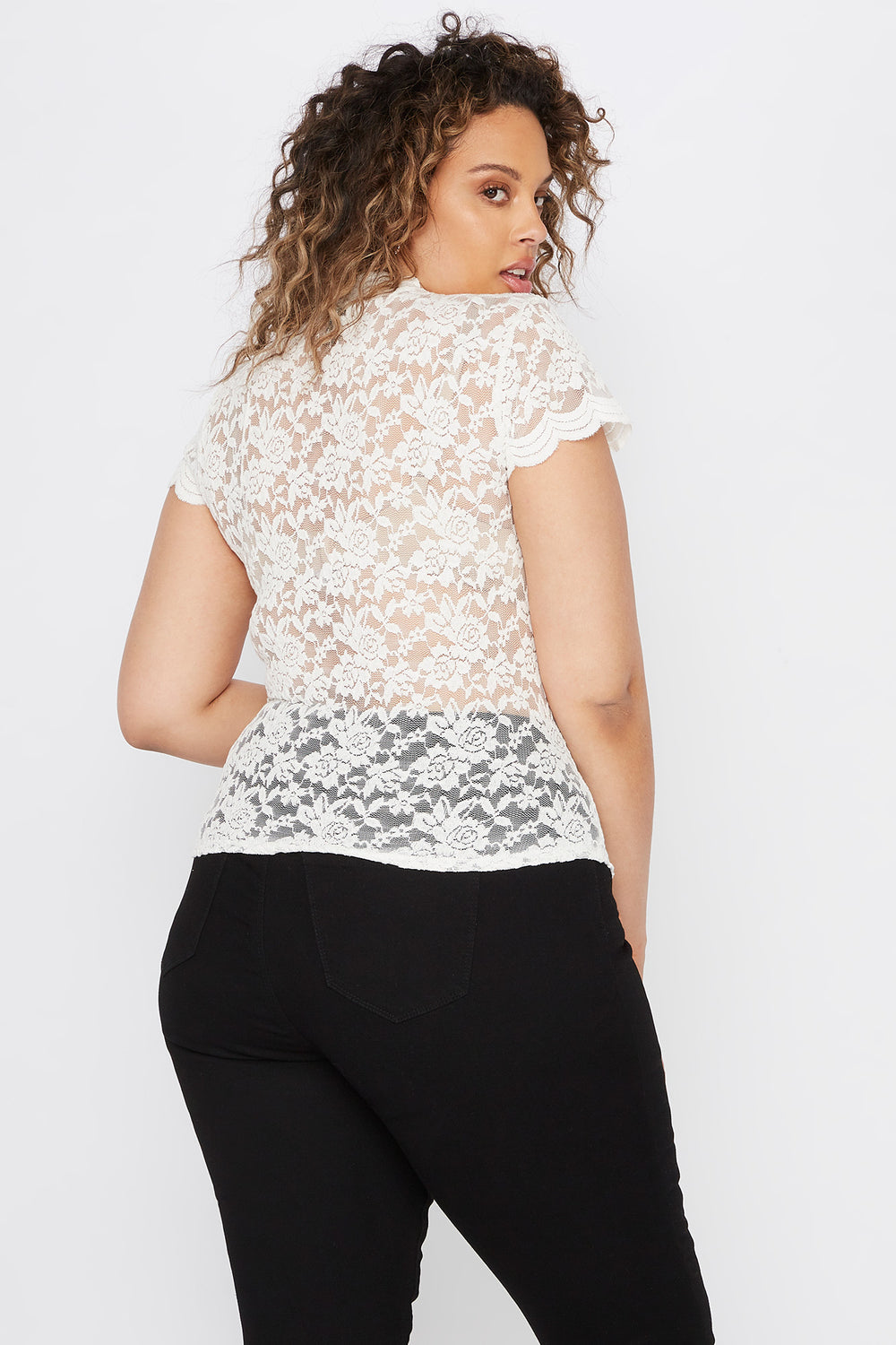 Plus Size Lace Scallop Mock Neck Blouse Off White