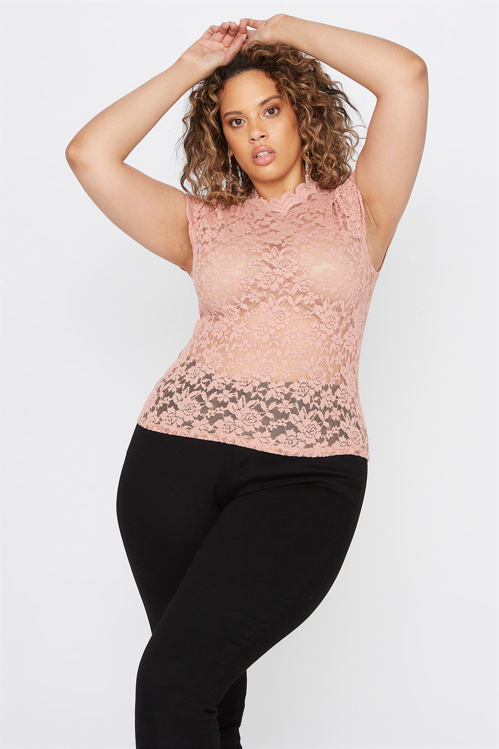 Plus Size Lace Scallop Mock Neck Blouse Mauve