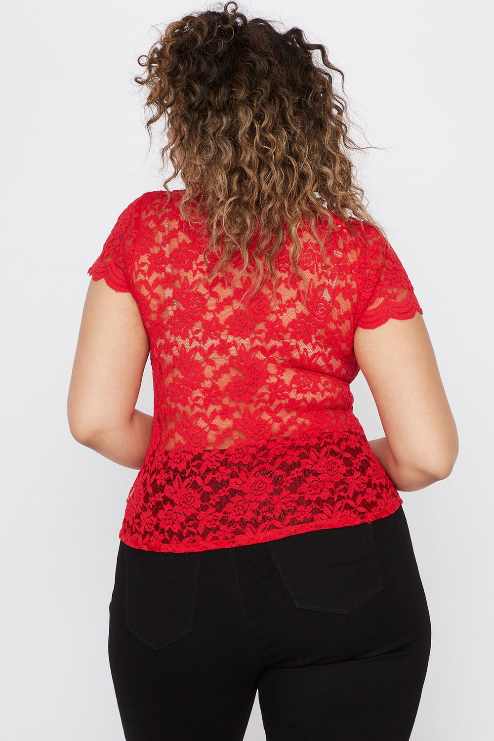 Plus Size Lace Scallop Mock Neck Blouse Bright Red