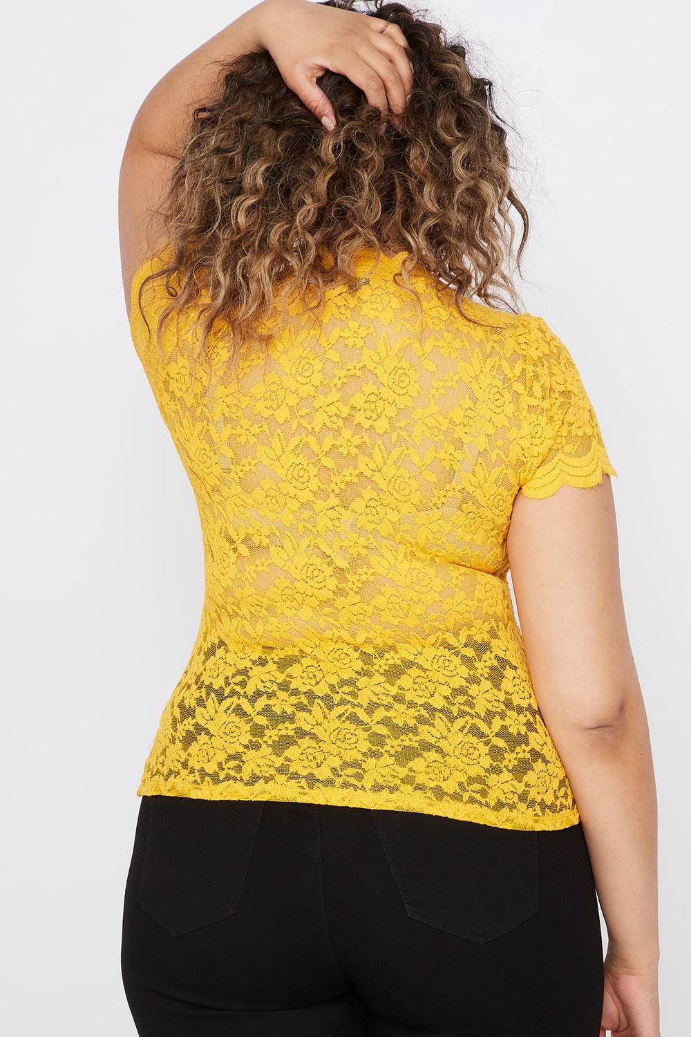 Plus Size Lace Scallop Mock Neck Blouse Mustard
