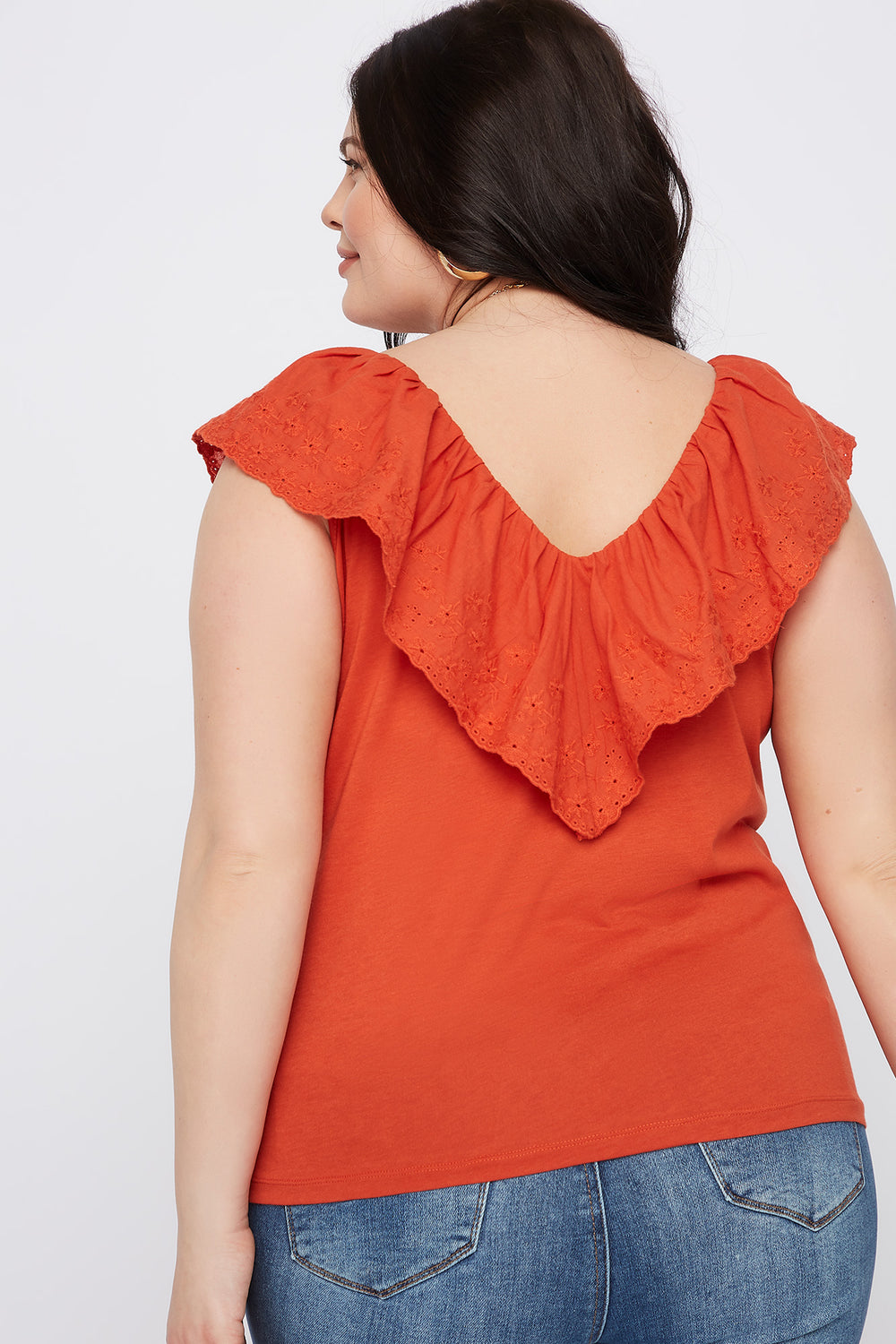 Plus Size Eyelet Trim V-Neck Top Rust