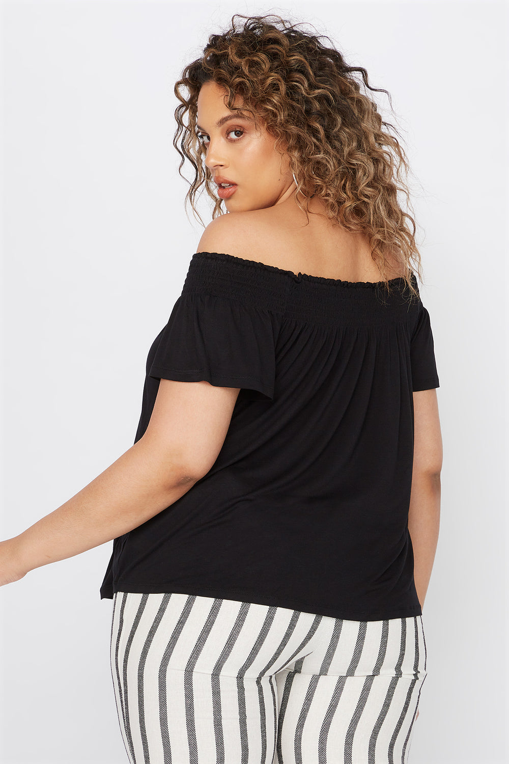 Plus Size Smocked Off The Shoulder Button Shirt Black