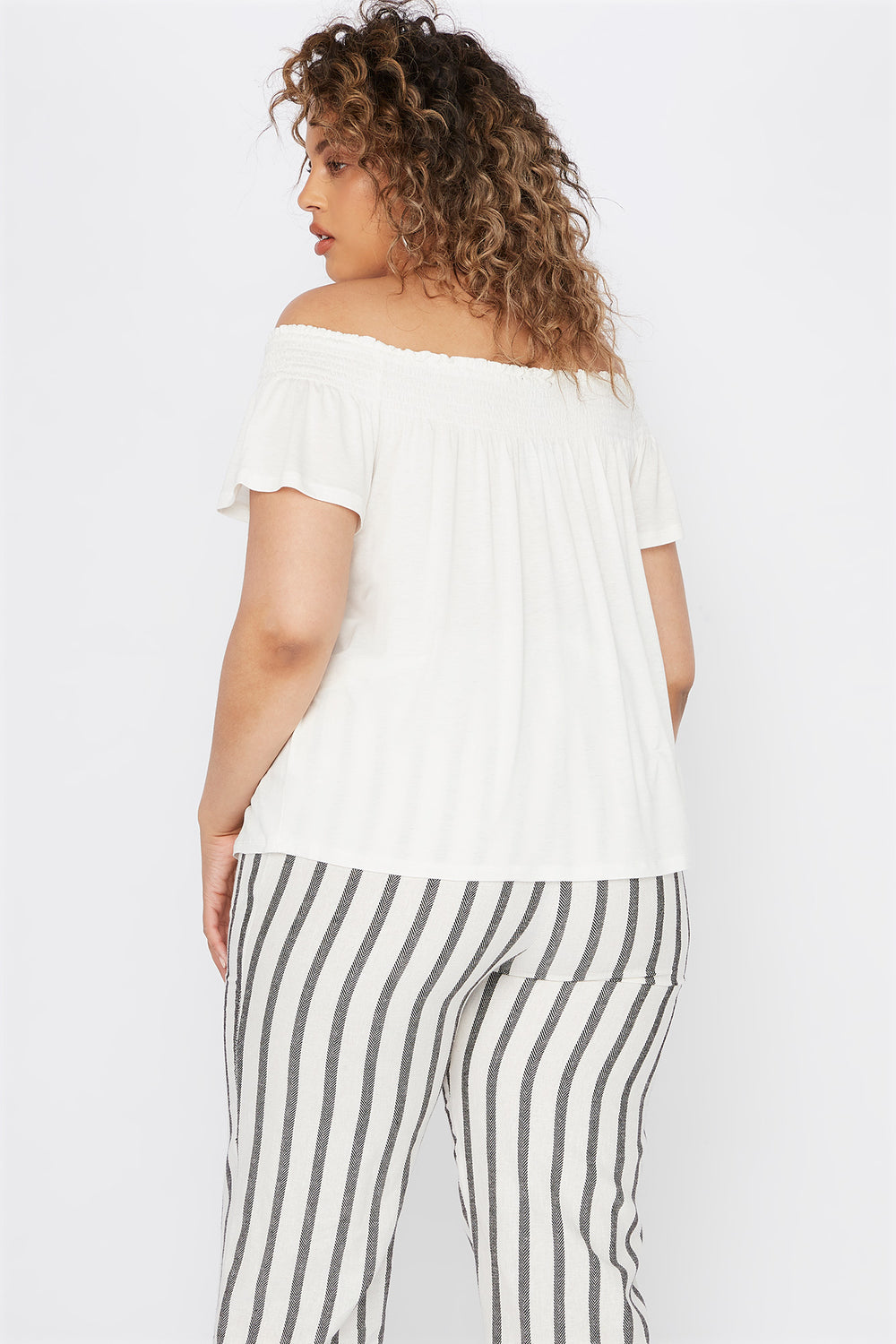 Plus Size Smocked Off The Shoulder Button Shirt Off White