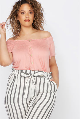 Plus Size Smocked Off The Shoulder Button Shirt