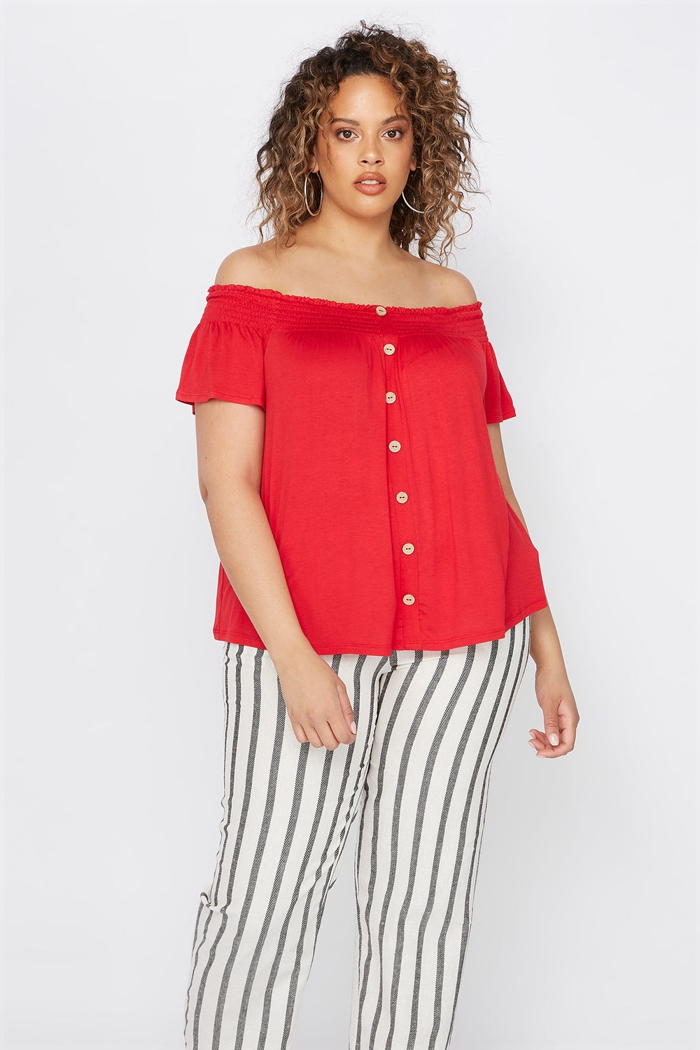 Plus Size Smocked Off The Shoulder Button Shirt Bright Red