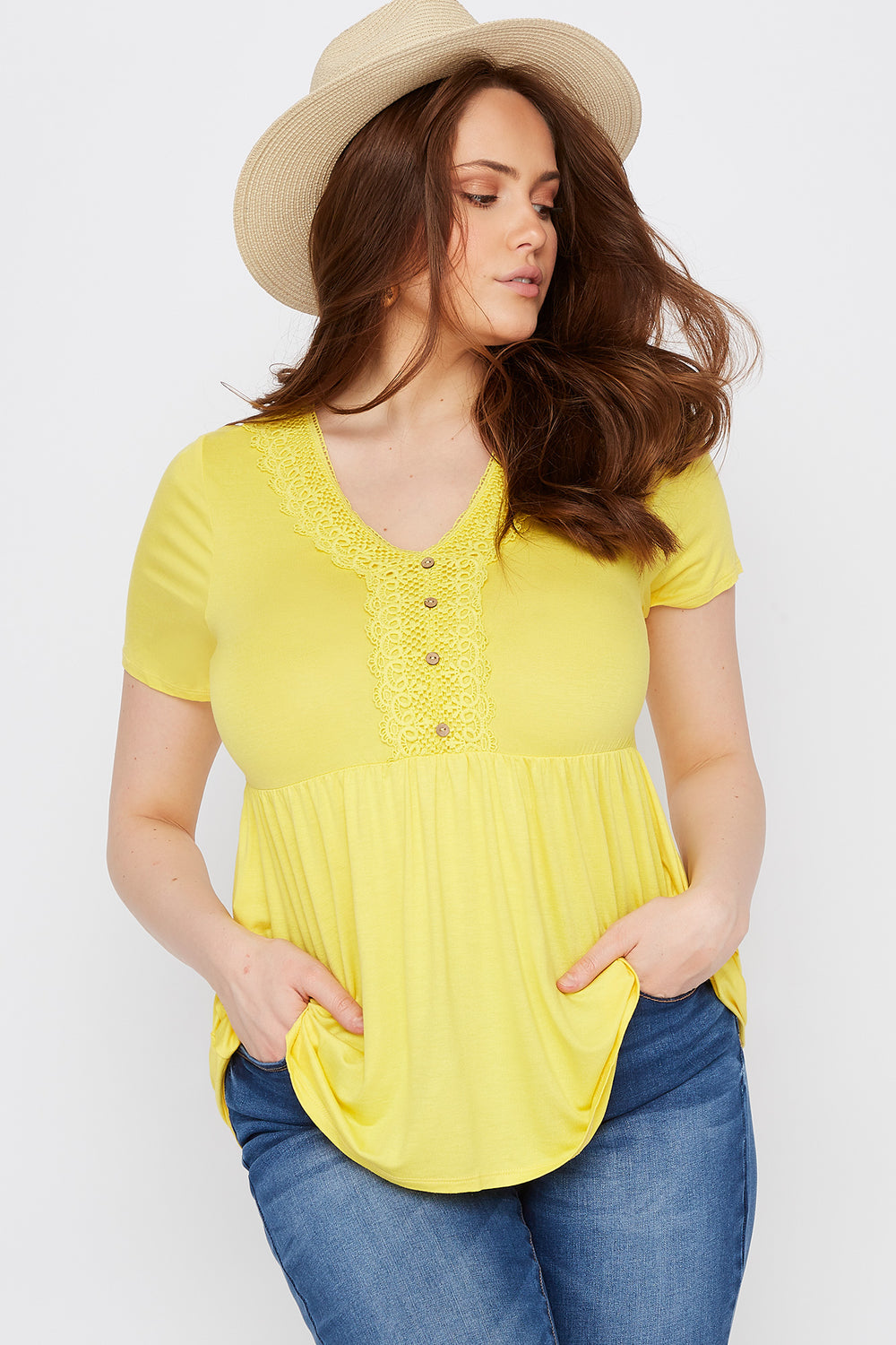 Plus Size Lace Trim Button Front Babydoll T-Shirt Yellow