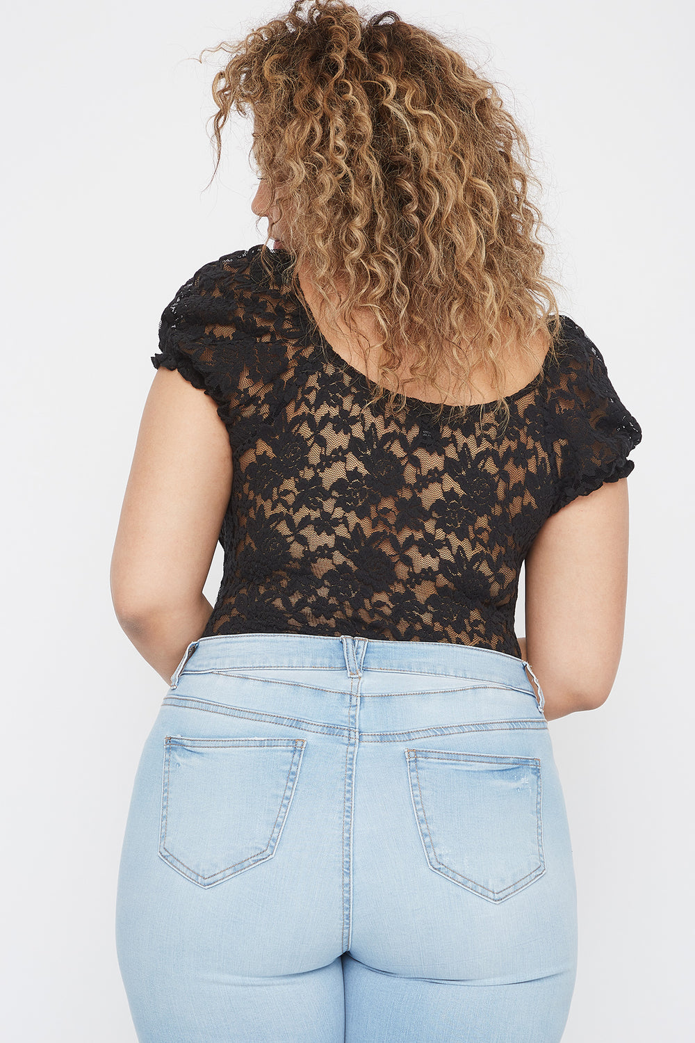 Plus Size Puff Sleeve Lace Blouse Black