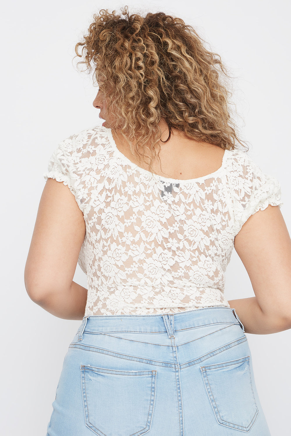 Plus Size Puff Sleeve Lace Blouse Off White