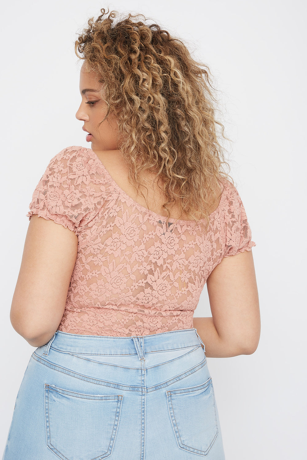 Plus Size Puff Sleeve Lace Blouse Mauve