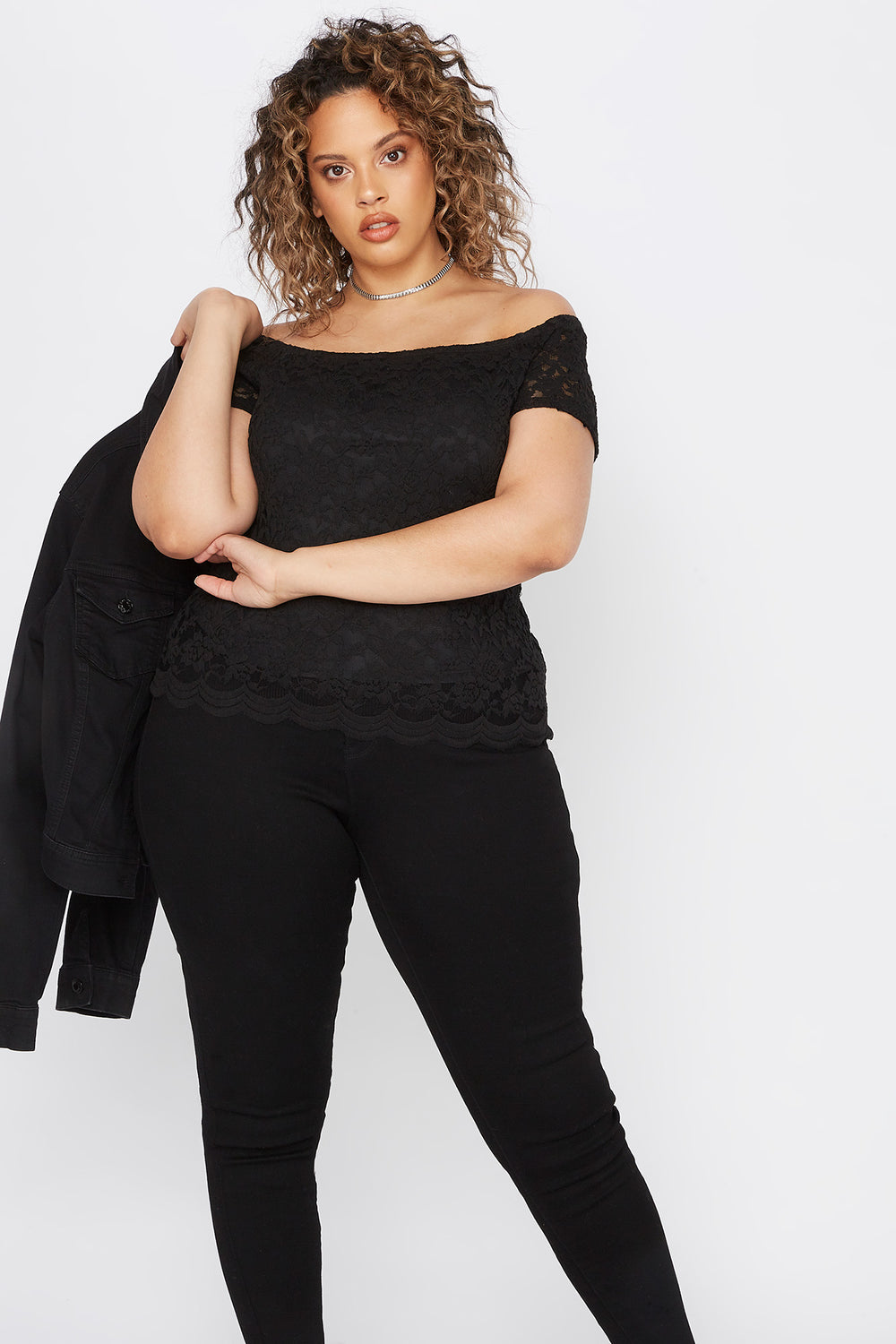 Plus Size Lace Off The Shoulder Scallop Top Black