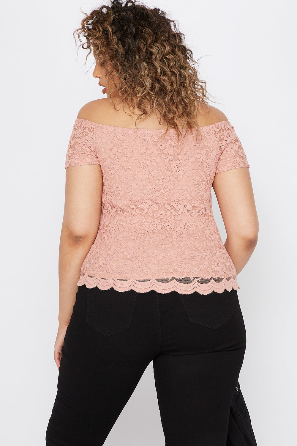 Plus Size Lace Off The Shoulder Scallop Top Mauve