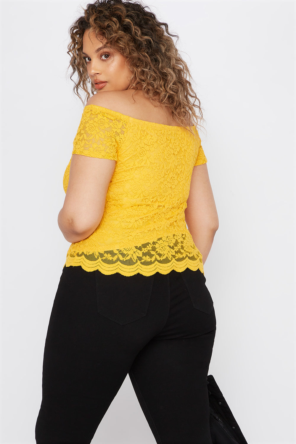 Plus Size Lace Off The Shoulder Scallop Top Mustard