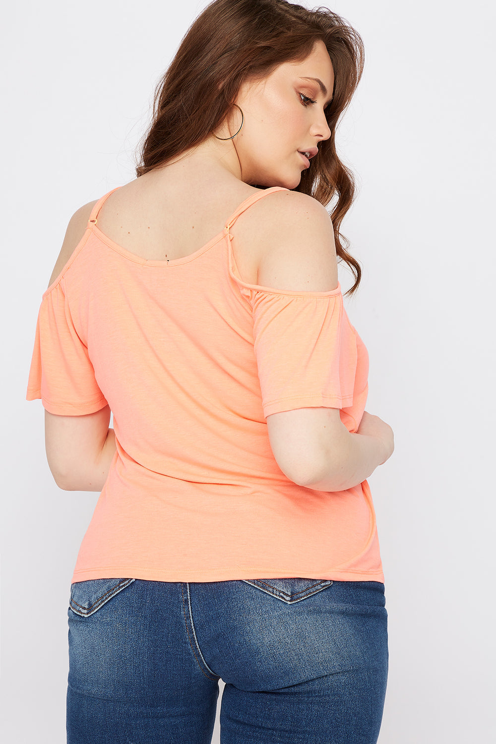 Plus Size Button Front Cold Shoulder T-Shirt Neon Orange