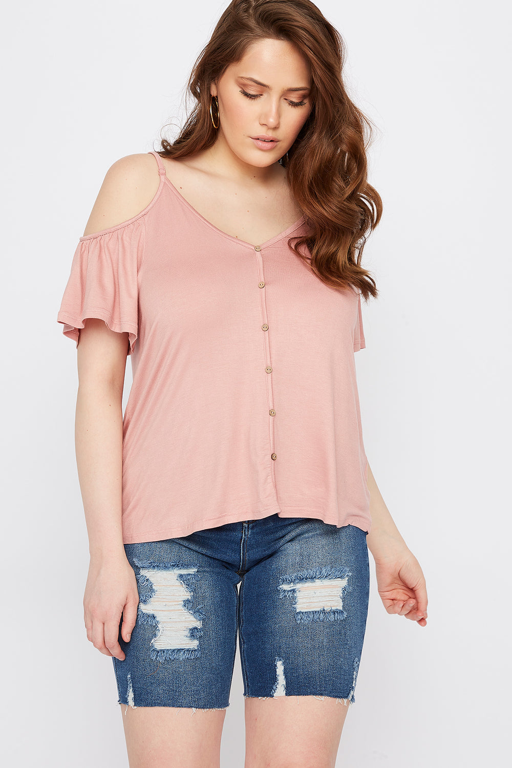 Plus Size Button Front Cold Shoulder T-Shirt Mauve