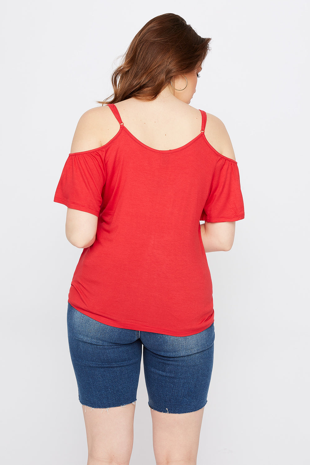 Plus Size Button Front Cold Shoulder T-Shirt Bright Red