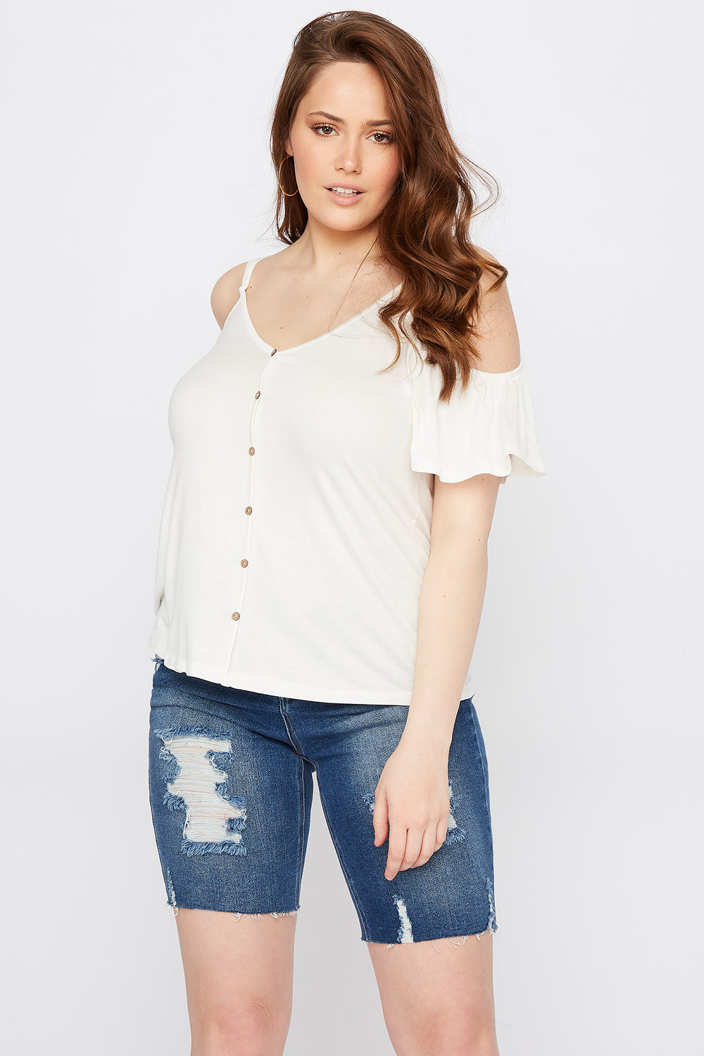 Plus Size Button Front Cold Shoulder T-Shirt Off White